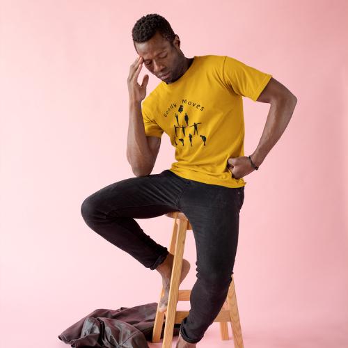 Yellow T-shirt black Print Men